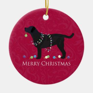 Black Lab Merry Christmas Design Round Ceramic Decoration