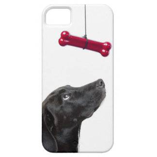 Black lab mixed dog with red dog bone barely there iPhone 5 case