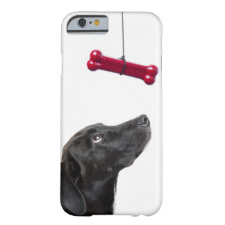 Black lab mixed dog with red dog bone barely there iPhone 6 case