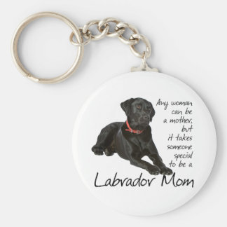 Black Lab Mom Basic Round Button Key Ring