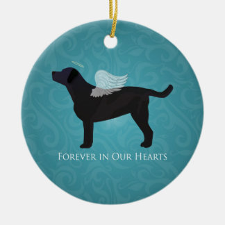 Black Lab Pet Memorial Sympathy Pet Loss Design Round Ceramic Decoration