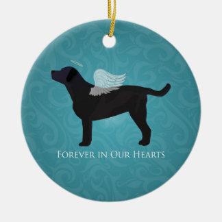 Black Lab Pet Memorial Sympathy Pet Loss Design Round Ceramic Decoration