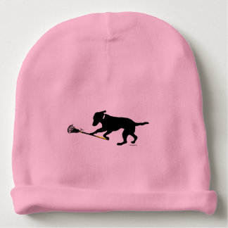 Black Lab Playing Lacrosse Baby Beanie