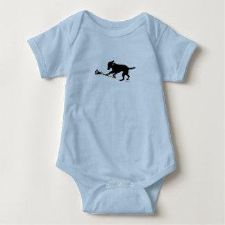 Black Lab Playing Lacrosse Baby Bodysuit