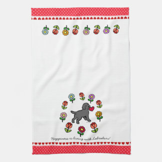 Black Lab Puppy and Red Heart Tea Towel