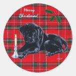 Black Lab Puppy Christmas Stickers Tartan