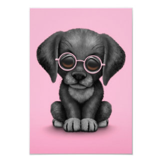 Black Lab Puppy Dog With Reading Glasses, pink 9 Cm X 13 Cm Invitation Card