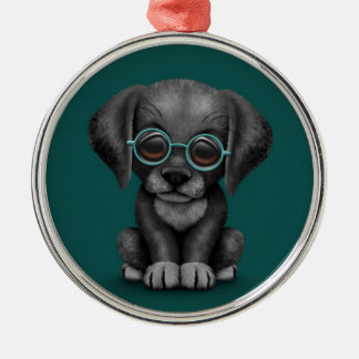 Black Lab Puppy Dog With Reading Glasses, teal Christmas Ornament