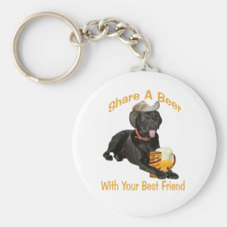 Black Lab  Shares A Beer Basic Round Button Key Ring