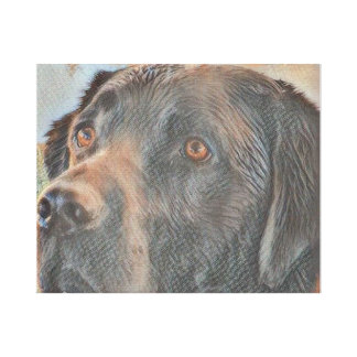 Black Lab Straight from the Pool Gallery Wrap Canvas