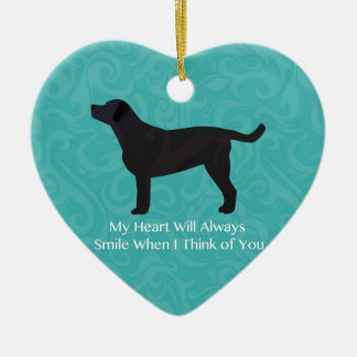 Black Lab Thinking of You Design Ceramic Heart Decoration