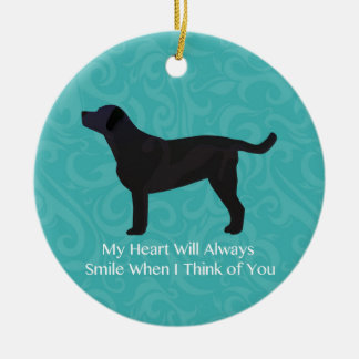 Black Lab Thinking of You Design Round Ceramic Decoration