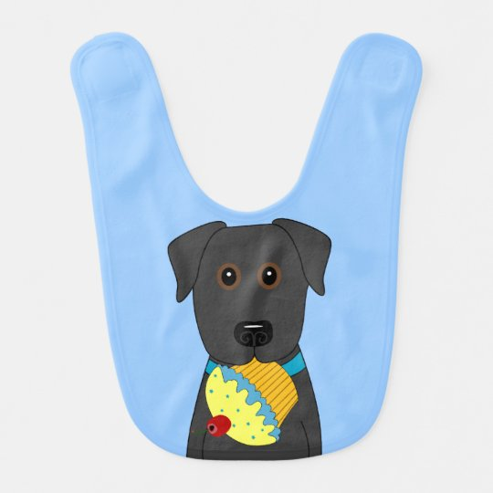 Black Lab with Cupcake Baby Bib