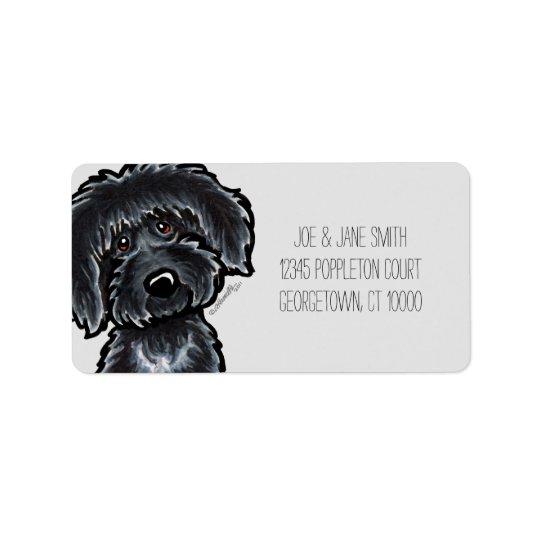 Black Labradoodle Art Grey Mod Label
