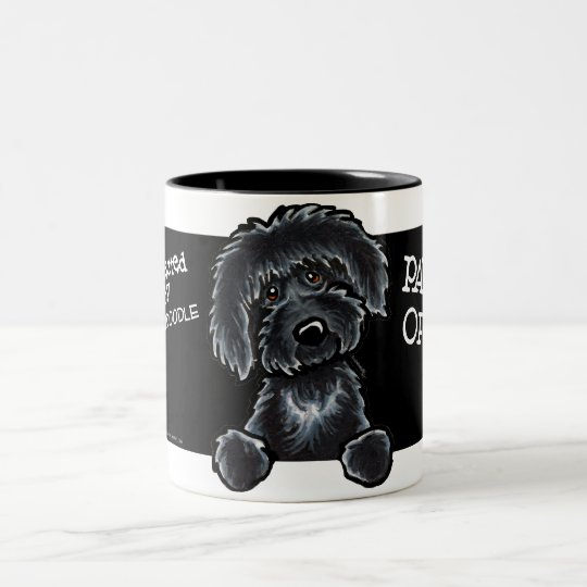 Black Labradoodle Art Two-Tone Coffee Mug