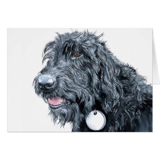 Black Labradoodle Greeting Cards