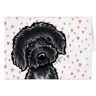 Black Labradoodle Puppy Love Greeting Card