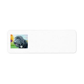 Black Labradoodle Return Address Label