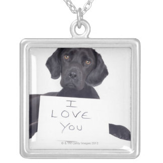 Black Labrador 13 Months Silver Plated Necklace