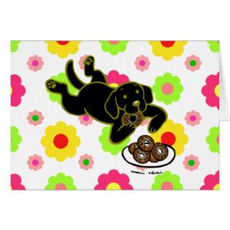 Black Labrador and Doughnuts Floral Card