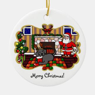 Black Labrador and Santa Christmas Cartoon Round Ceramic Decoration