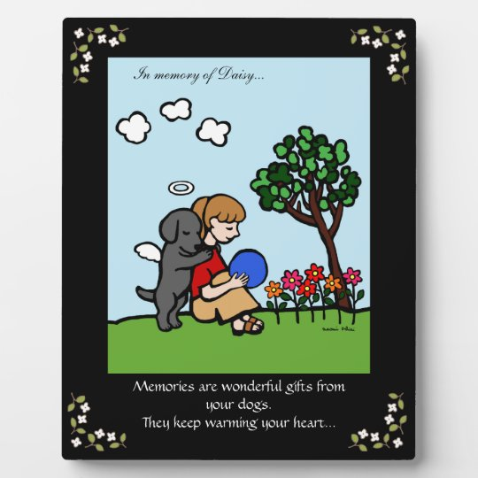 Black Labrador Angel with Love Memorial Plaque