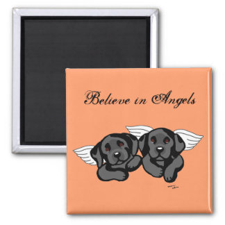Black Labrador Angels (Rainbow Bridge) Square Magnet