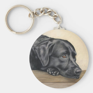 Black labrador basic round button key ring
