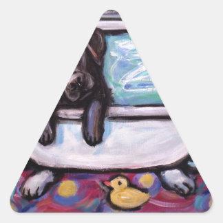 Black Labrador bathtub Triangle Sticker