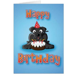 black labrador - cake- happy birthday greeting card