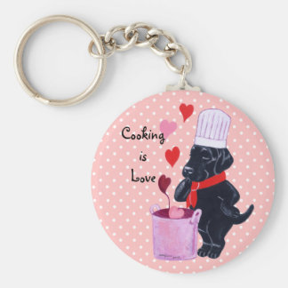 Black Labrador Chef Painting Basic Round Button Key Ring