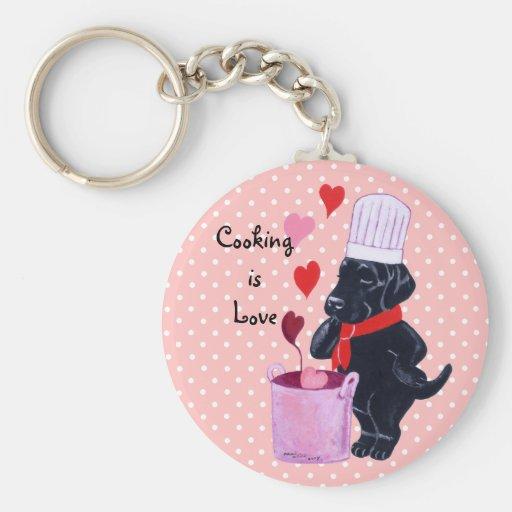 Black Labrador Chef Painting Key Chain