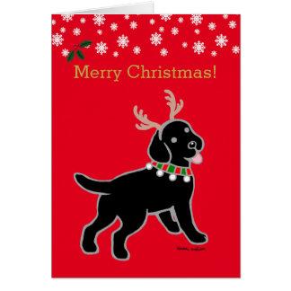 Black Labrador Christmas Antlers Card
