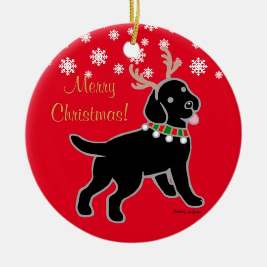 Black Labrador Christmas Antlers Christmas Ornament
