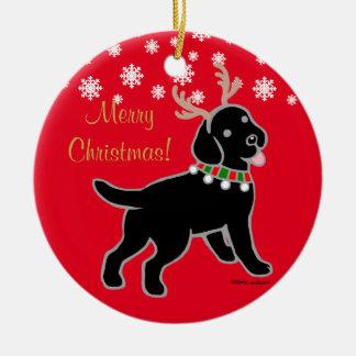 Black Labrador Christmas Antlers Round Ceramic Decoration