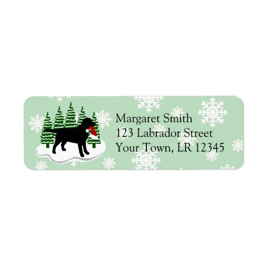 Black Labrador Christmas Evergreen Snowflakes