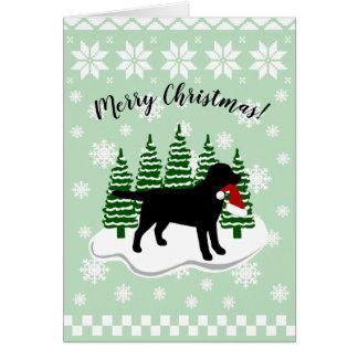 Black Labrador Christmas Evergreen Snowflakes Card