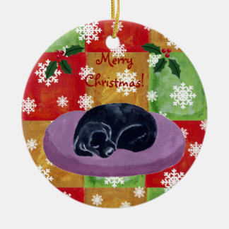 Black Labrador Christmas Mosaic Snowflake Christmas Ornament