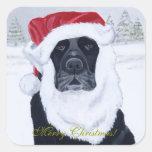 Black Labrador Christmas Santa Hat Painting Square Stickers