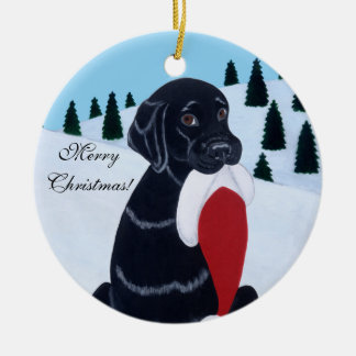 Black Labrador Christmas Santa Hat Round Ceramic Decoration