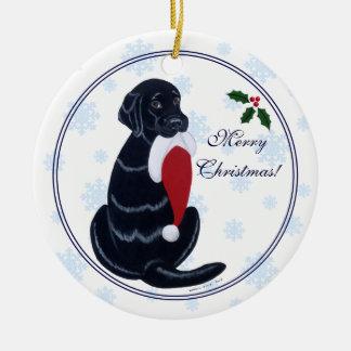 Black Labrador Christmas Santa Hat Snowflake Christmas Ornament