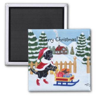 Black Labrador Christmas Santa Refrigerator Magnet