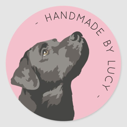 "Black Labrador Custom ""Handmade By"" Sticker"