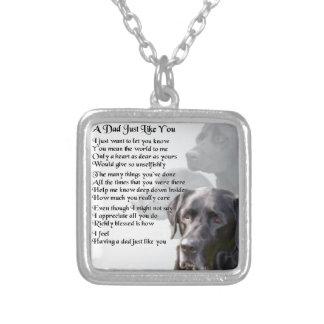 Black Labrador  Dad Poem Silver Plated Necklace