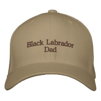 Black Labrador Dad Text Embroidered Baseball Caps