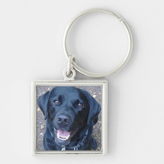 Black Labrador Dog Key Ring Silver-Colored Square Key