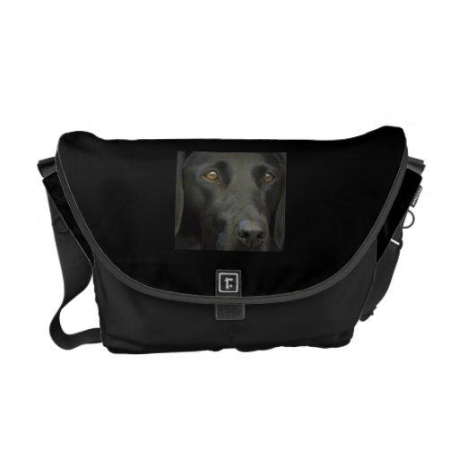 Black Labrador Dog Messenger Bags