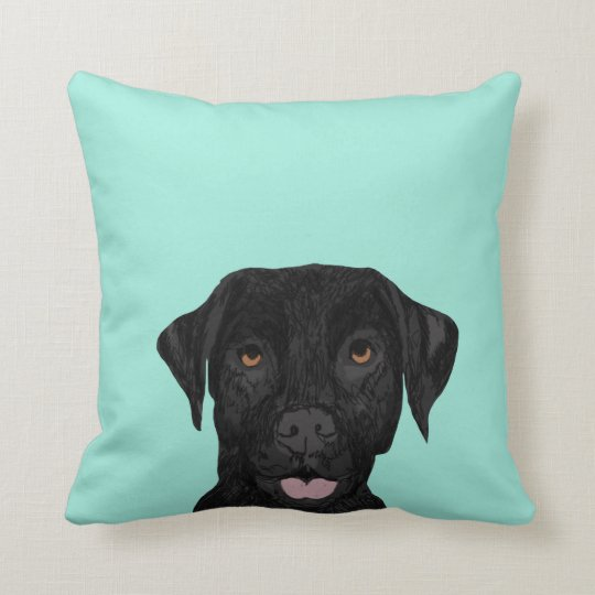 Black Labrador Dog Pillow - cute black lab