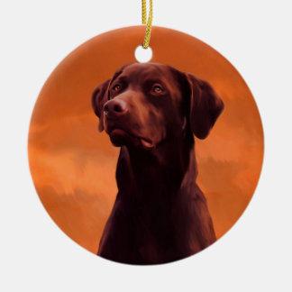 Black Labrador Dog Portrait Christmas Ornament