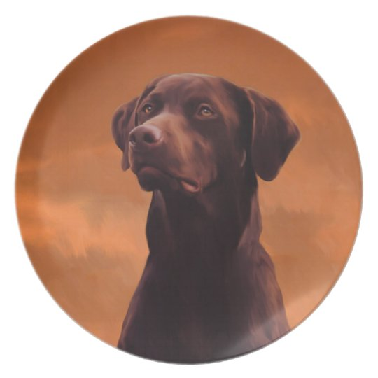 Black Labrador Dog Portrait Plate